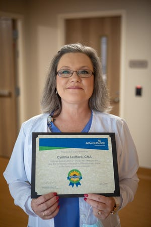 Cindy Ledford, CNA, a member of the Behavioral Health Unit care team at AdventHealth Hendersonville, has been named the winner of the Sunflower Award.