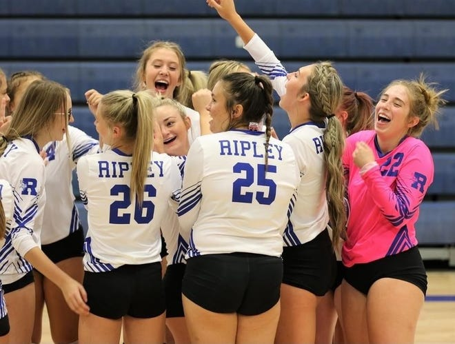 The Ripley Lady Viking volleyball team celebrates following a recent victory.