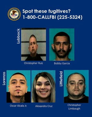 The FBI Dallas office is seeking five suspects in connection with what it described as a large drug trafficking arrest operation in Lubbock.