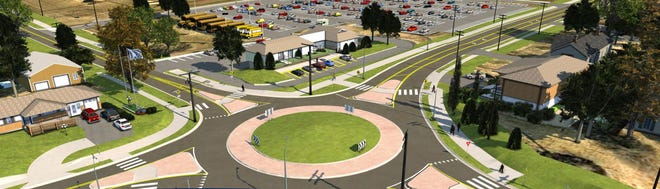 The rendering depicts a concept for a roundabout at the intersection of 155th Street and Parallel Road. The roundabout is planned as part of a 155th Street improvement project.