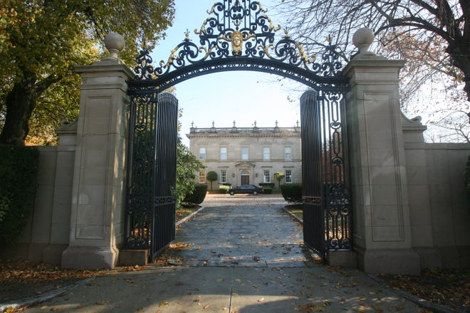 The gates of Clarendon Court in Newport.