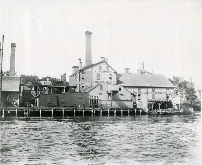 A circa 1880-1890 photograph of the Portsmouth Brewing Company on Bow Street, viewed from the Piscataqua River with the steeple of St. John's Episcopal Church visible in the background.