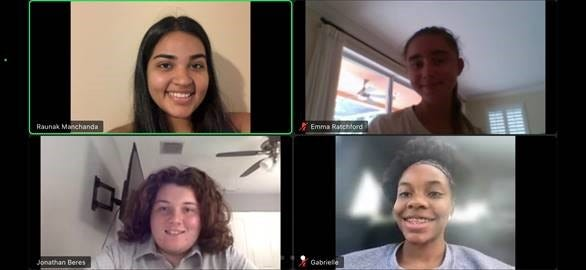 Raunak Manchanda, Emma Ratchford, Jonathan Beres and Gabrielle Williams participate in a Zoom session during their 2021 Bank of America Student Leaders internship.