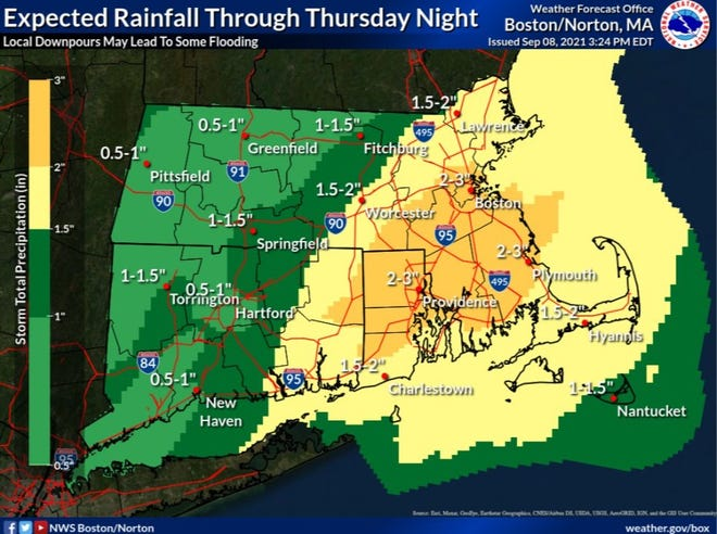 The National Weather Service says Rhode Island could get up to 3 inches of rain through Thursday night.
