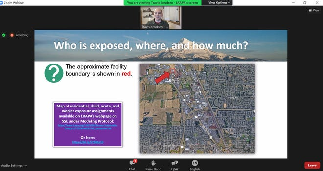 Lane Regional Air Protection Agency spokesman Travis Knudsen presents information at a virtual community meeting Wednesday, Sept. 9, concerning Cleaner Air Oregon and Seneca Sustainable Energy's Eugene powerplant.