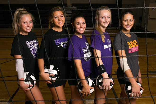 Rockford Lutheran volleyball teammates, from left, Sarah Ziegler, Jaycie Sheean, Kayla Spangler, Julia Nystrom and Kylie Wilhelmi pose for a portrait during practice on Thursday, Sept. 9, 2021, at Rockford Lutheran High School in Rockford.