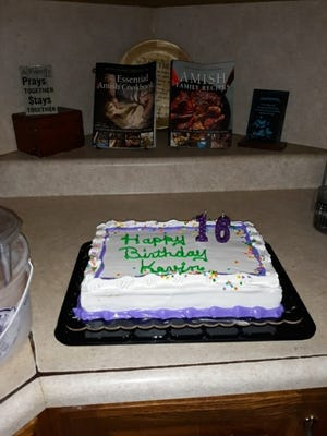 The Eicher family celebrated Kevin's 16th birthday with cake and ice cream, after a supper of sausage and potatoes (recipe in this week's column).