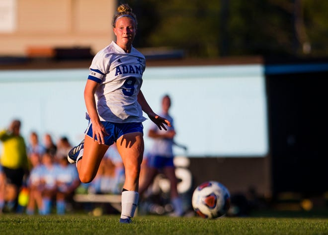 Adams' Alayna Wilson during the Saint Joseph vs. Adams girls soccer match Sept. 8, 2021 at the Northfield Athletic Complex in South Bend. On Tuesday at Riley's Jackson Field Wilson scored a goal in the Eagles' 8-0 3A sectional victory over LaPorte.
