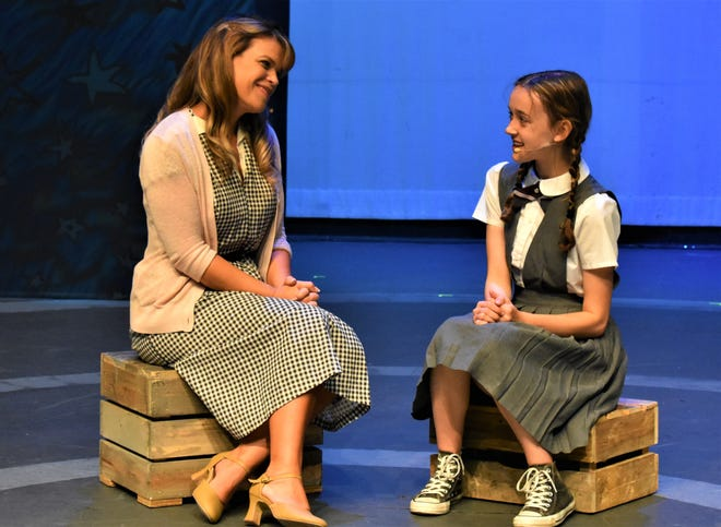 """Kristin Baker, left, rehearses as Miss Honey with Clara Moran Walton as Matilda for South Bend Civic Theatre's production of """"Matilda the Musical"""" that will be staged Sept. 10-26, 2021."""