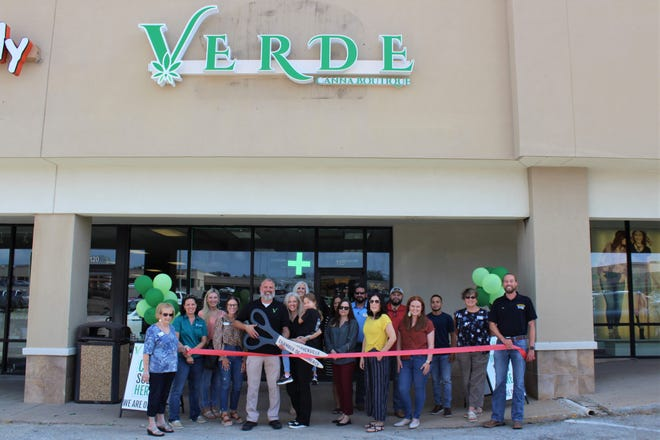 """The Stephenville Chamber of Commerce celebrated new member Verde Boutique with a ribbon-cutting ceremony on Tuesday, Sept. 7. Verde Boutique is a health and wellness shop offering an extensive variety of CBD oils, pre-oils, infused edibles, topicals, tinctures, and more. Owner Jim Richardson says that """"As the first full-service CBD Boutique in the Stephenville area, we are excited to introduce CBD products and their well-known natural benefits to friends and neighbors from all walks of life."""" Stop by Verde Boutique in the Bosque River Center. For more information, visit bit.ly/RC-Verde."""
