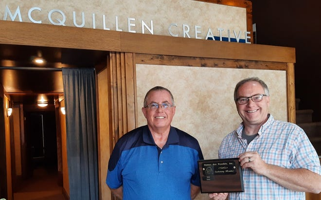 Homes Are Possible, Inc. would like to thank McQuillen Creative Group for their Friend level of giving to Homes are Possible, Inc.'s annual Sustaining Membership drive. Pictured are (L-R) Jeff Mitchell (Home Are Possible, Inc.) and Troy McQuillen (McQuillen Creative).