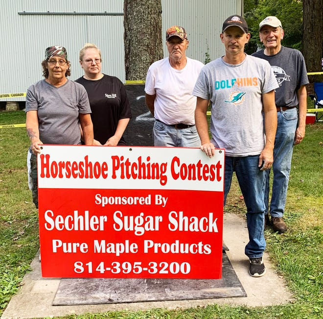 The winners at the annual Kingwood Picnic Horseshoe Pitching Contest are shown with Everett Sechler representing Sechler Sugar Shack, sponsor of the contest. In first was Tracy Ross of Stoystown, in second was Bobby Faidley of Rockwood, in third was Domer Leighty of Acme and in fourth was Holly Faidley of Rockwood.