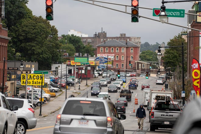 A photograph taken at midday on Thursday shows Chandler Street looking toward Main Street. This area of the street would be redesigned in phase 1 of a planned project that will begin in 2025.