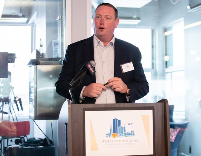 David Greaney, CEO of Synergy, speaks during Breakfast Club hosted by the Worcester Regional Chamber of Commerce at Polar Park in Worcester on Thursday.