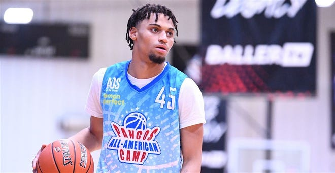 Five-star 2022 shooting guard Zion Cruz from The Patrick School in Hillside, N.J., looks to make a pass during the Pangos All-American Camp on June 7, 2021 at the Tarkanian Basketball Academy in Las Vegas, Nev.