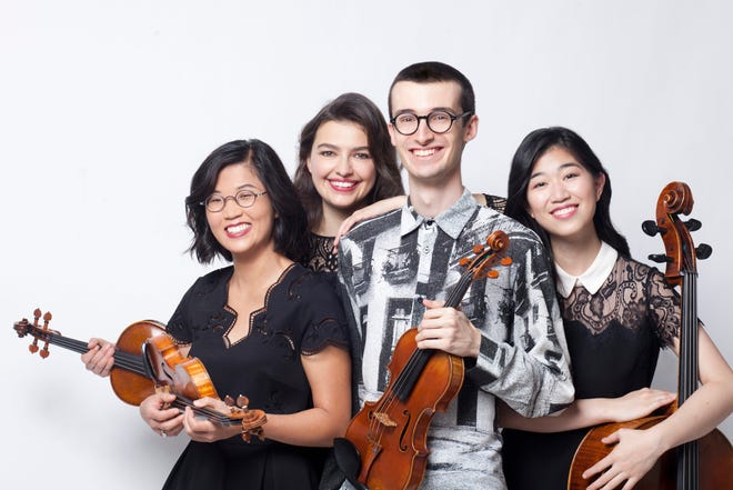 The James Library and Center for the Arts, Norwell's community arts center and lending library, 24 West St., will present a fall season of a variety of music, literary programming and art gallery events. Pictured is the Argus Quartet, from left, are Clara Kim, violin; Maren Rothfritz, viola; Giancarlo Latta, violin; and Audrey Chen, cello.
