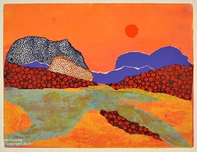 """The James Library and Center for the Arts, Norwell's community arts center and lending library, 24 West St., will present a fall season of a variety of music, literary programming and art gallery events. Pictured is artist Joan Drescher's monotype/collage """"Eye of the Beholder,"""" which appears in a Coastal Printmakers' exhibit at The James Library."""