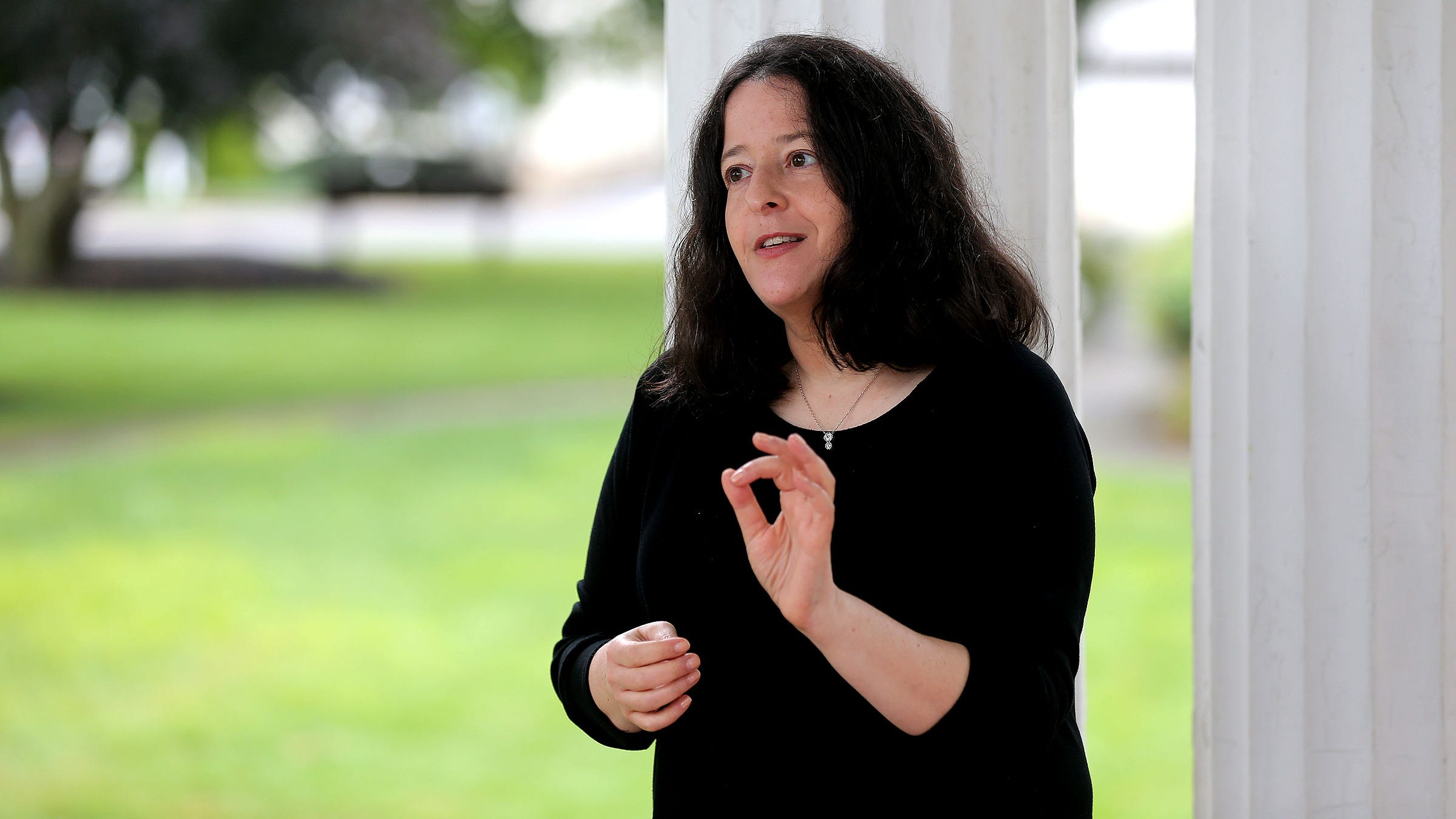 Lori Rassas, a Rumson-Fair Haven High School graduate and human resources attorney, is interviewed Thursday, Septemeber 9, 2021, at Victory Park in Rumson. She says that employers and workers are in for huge changes once the pandemic recedes.