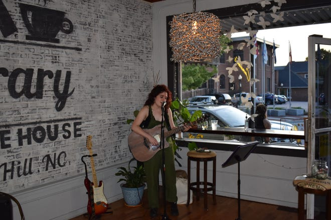 Asheville singer-songwriter Frances Eliza was on hand to perform at Camden's Coffee House during Sept. 3's First Fridays in Mars Hill.