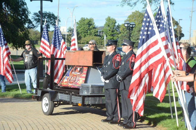 A section of beam from the World Trade Center was displayed by the Battle Creek Fire Department at the 2018 ceremony. Battle Creek will mark the 20th anniversary of 9/11 on Saturday at 2 p.m.  (Trace Christenson/The Enquirer)