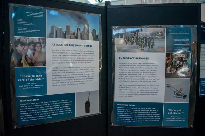 """The 9/11 Memorial & Museum exhibit """"September 11, 2001: The Day That Changed the World"""" is on view at Reed Memorial Library in Ravenna."""