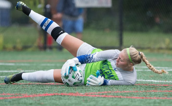 Washington Township's goalie Kelsey Newton makes a save during the girls soccer game between Washington Township and Cherry Hill East played in Cherry Hill on Thursday, September 9, 2021.  Washington Township defeated Cherry Hill East, 1-0, in double-overtime.