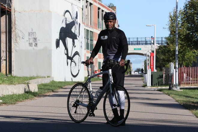 The leader of Black Leaders Detroit, Dwan Dandridge, is training for a bike ride to the Mackinac Policy Conference he rides his bike for three hours a day. On Sept. 9, 2021, he rode the Dequindre Cut in Detroit.