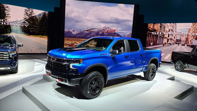 The 2022 Chevy Silverado ZR2 is the new flagship for the Silverado model line. It features 33-inch tires, black trim, V8 power, and Multimatic shocks.