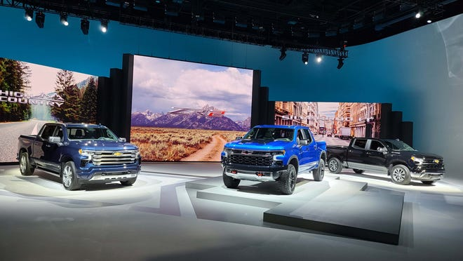 The 2022 Chevy Silverado lineup included nine trime - the three pictured are (l to r) High Country, ZR2, and LT.