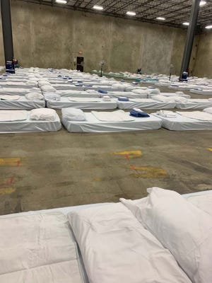 Photos included in a class-action lawsuit show conditions at an Independence, Louisiana, warehouse where more than 800 nursing home residents were evacuated during Hurricane Ida.