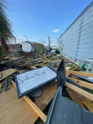 Lexie Terrebonne's hair salon in Larose was destroyed by Hurricane Ida.