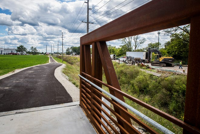The unfinished Cowan Road trail in Muncie Thursday, Sept. 9, 2021.