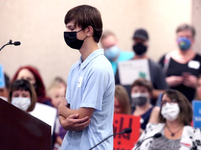 Central Magnet High School student Grady Knox is mocked by some as he speaks of losing his grandmother to Covid and said that she got Covid because someone didn't wear a mask around her, as he addresses the Rutherford County School Board on Tuesday, Sept. 7, 2021. People for and against masks had the opportunity to speak during the meeting.