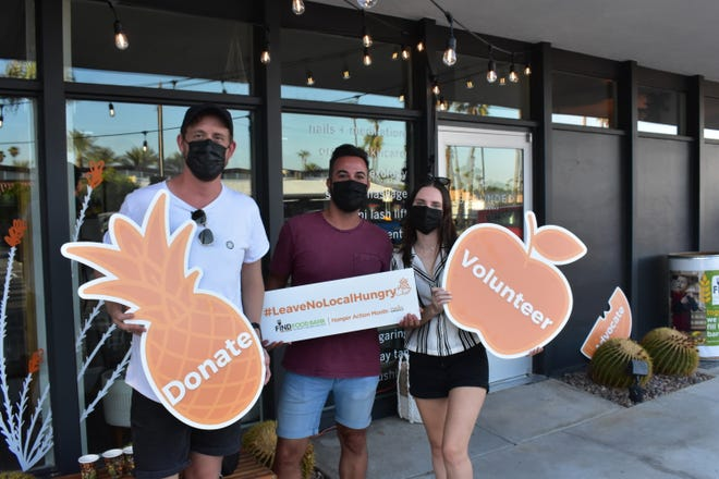 Three locals help promote donations, volunteerism and advocacy with FIND Food Bank for Hunger Action Month at Grounded Bodyworks Palm Springs Summer Market, Sept. 2, 2021.