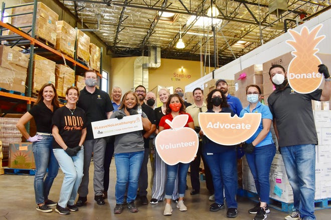 The City of Indio kicked off Hunger Action Month with a staff-wide volunteer event at FIND's warehouse. Volunteers included Mayor Elaine Holmes, several city councilmembers, City Manager Bryan Montgomery and other city employees.