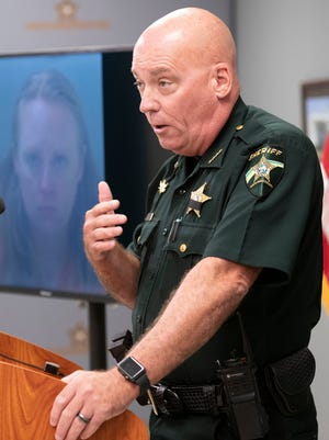 Santa Rosa County Sheriff Bob Johnson speaks at a press conference Thursday about the arrest of Bree Kristen Kuhn, a Navy chief petty officer who has been charged with murder in the death of her husband, Collin James Turner, at their home in Midway.
