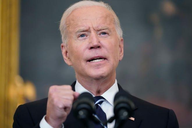 President Joe Biden speaks in the State Dining Room at the White House on Sept. 9, 2021, in Washington.