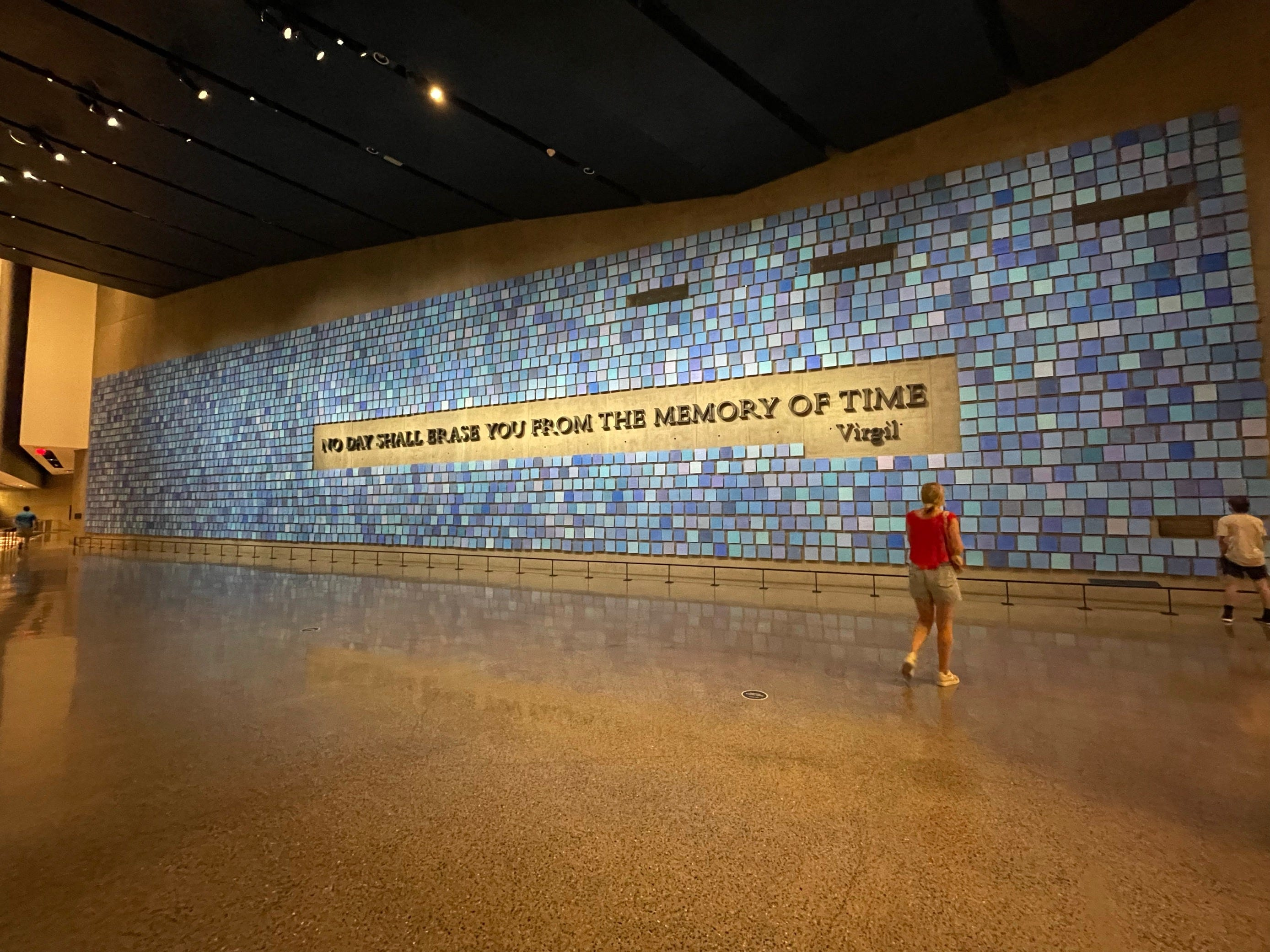 The ancient Roman poet Virgil's words memorialize the estimated 3,000 people killed in the 9/11 attacks on the twin towers.