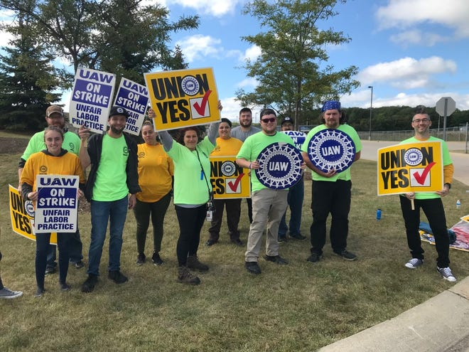 Workers were demonstrating outside the ZF, LLC plant in Marysville Thursday, Sept. 9, 2021.