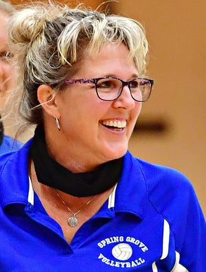 Spring Grove Head Coach Liz Zeigler during girls' volleyball action against Dallastown at Spring Grove Area High School in Jackson Township, Wednesday, Sept. 8, 2021. Dawn J. Sagert photo