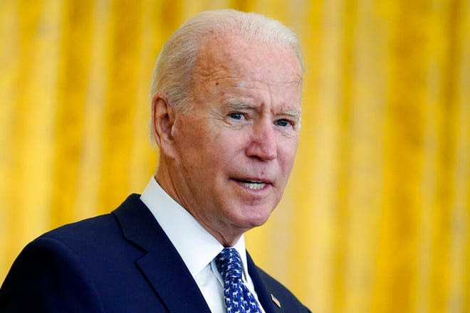 President Joe Biden speaks during an event to celebrate labor unions, in the East Room of the White House, Wednesday, Sept. 8, 2021, in Washington. (AP Photo/Evan Vucci)