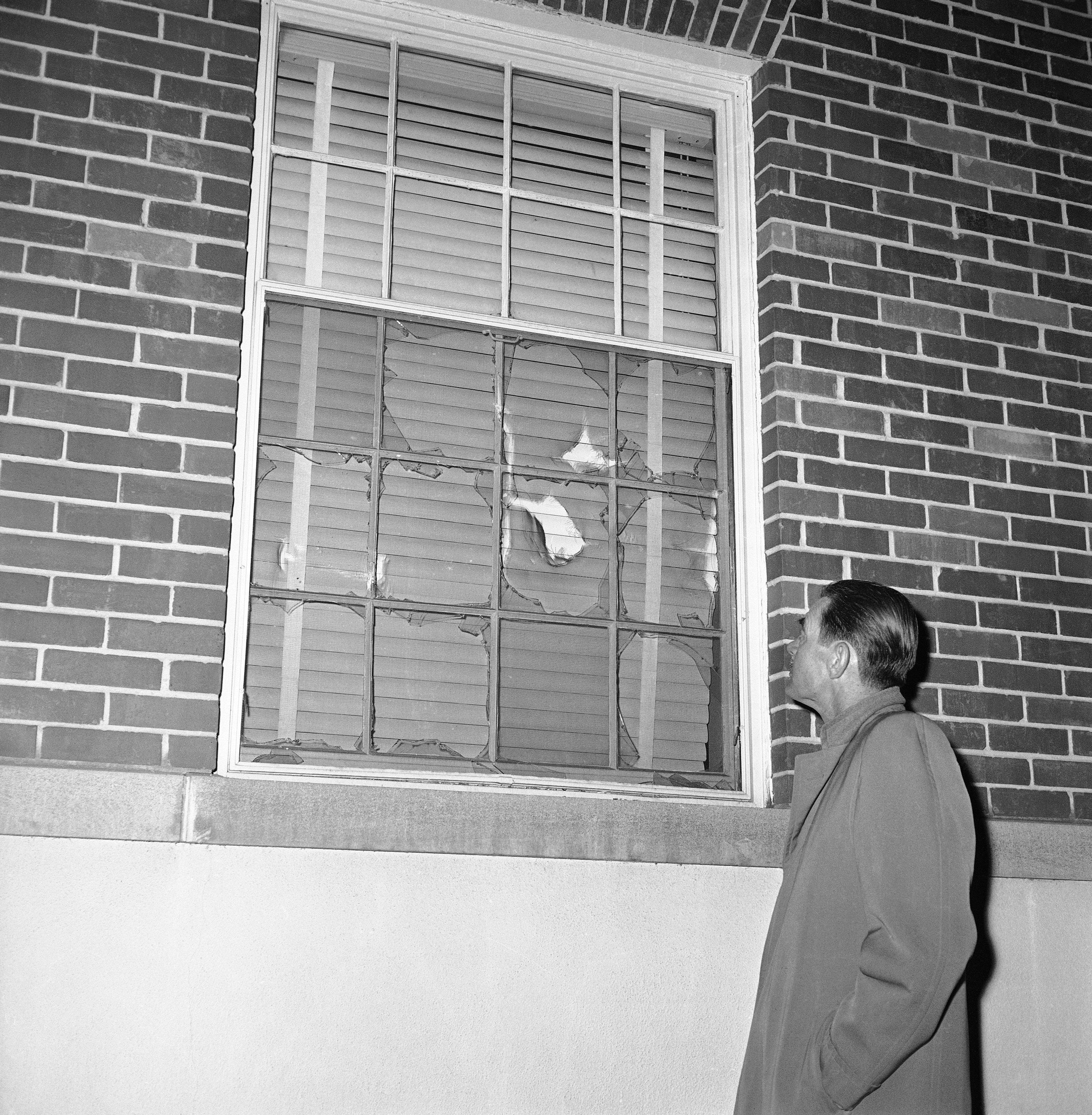 Rioting University of Georgia students broke all but two panes in this dormitory window on Jan. 12, 1961 in Athens during riot which forced the withdrawal of African American  students Charlayne Hunter and Hamilton Holmes. The two African American had been attending the university under federal orders.