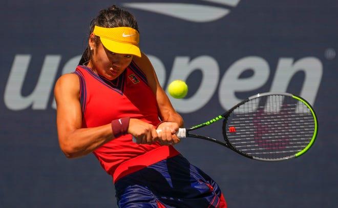 Day 10: Emma Raducanu hits to Belinda Bencic during their quarterfinal match. Raducanu won, 6-3, 6-4.
