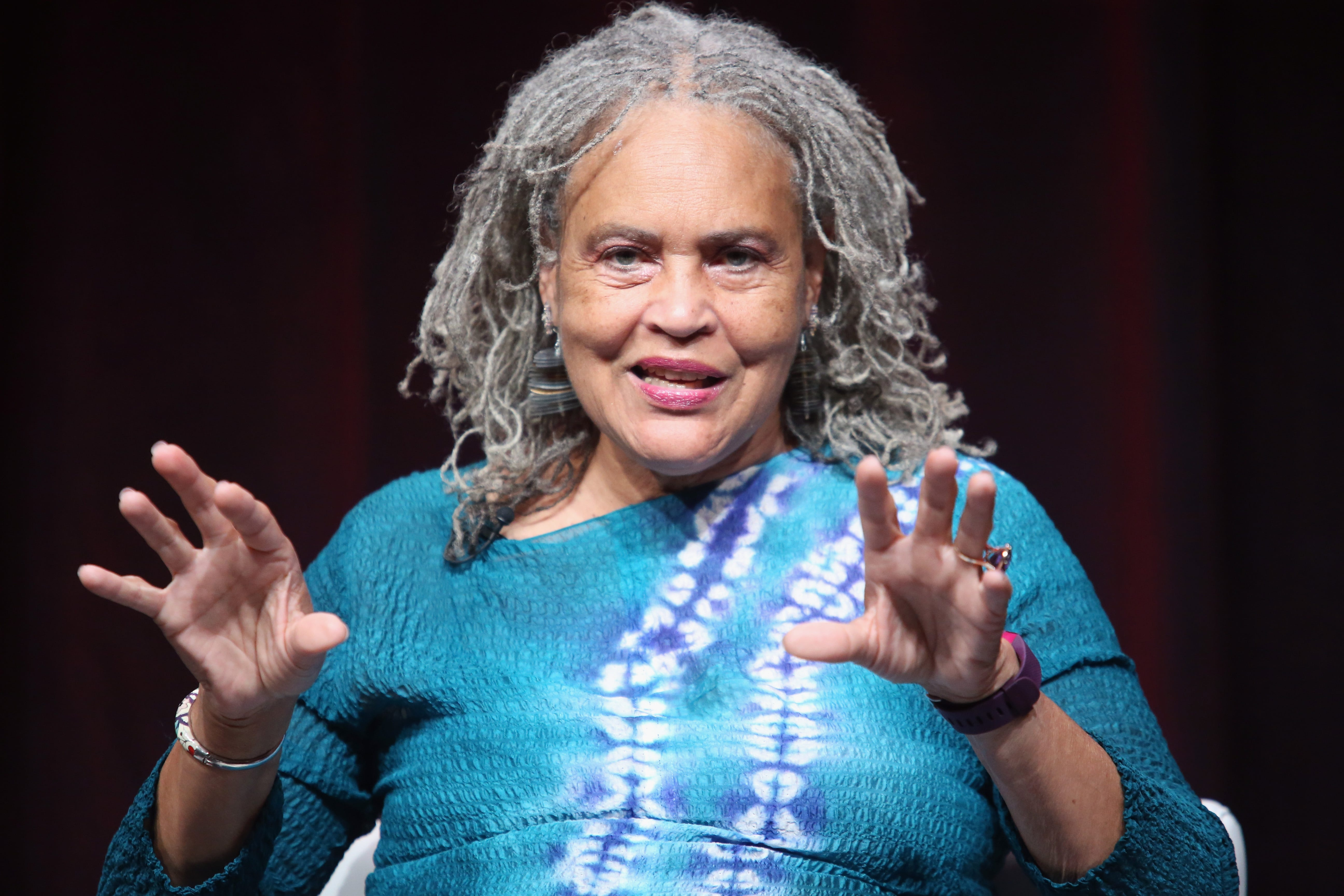"""Journalist Charlayne Hunter-Gault speaks onstage during the """"Black America Since MLK: And Still I Rise"""" panel discussion at the PBS portion of the 2016 Television Critics Association Summer Tour at The Beverly Hilton Hotel on July 29, 2016, in Beverly Hills, Calif."""