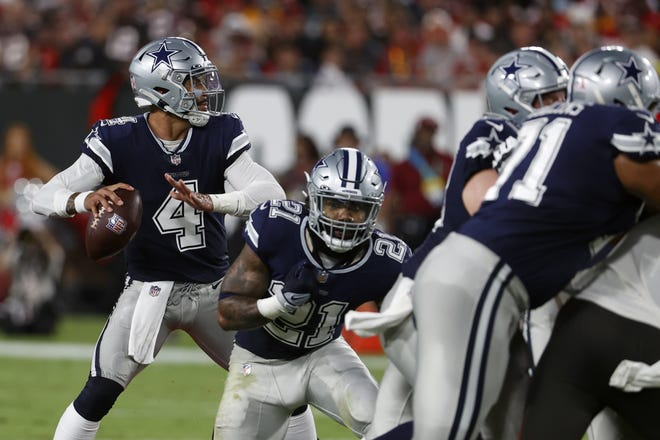 Dallas Cowboys quarterback Dak Prescott, playing for the first time since he suffered a broken ankle in Week 5 last season, stood toe to toe with Tampa Bay's Tom Brady, throwing for 400 yards in Thursday night's 31-29 loss.