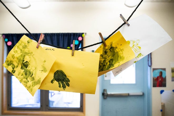 Children's artwork decorates the 12- to 24-month-old classroom in a South Austin child care center. [AMERICAN-STATESMAN/2018 FILE PHOTO]
