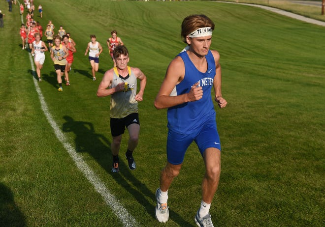 Van Meter's Dustin  Barth runs during the boys' race in the Gilbert Cross Country Invitational at Iowa State Cross Country Course Thursday, Sept. 9, 2021, in Ames, Iowa.