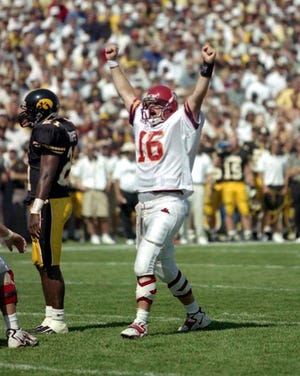 Cyclones quarterback Todd Bandhauer celebrates during the Cy-Hawk game on Sept. 12, 1998.