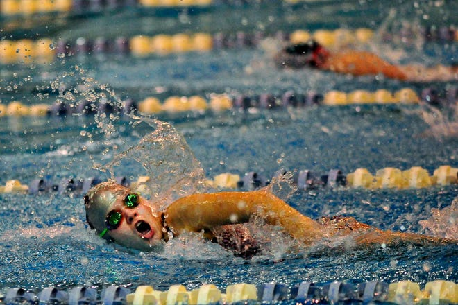 In this photo from 2014, Lakeside High School's Kathleen Tynan finished in third place in the third heat with a time of 31.42 in the girls' 50-yard freestyle during the Columbia County Swimming Championships at the Augusta Aquatics Center.