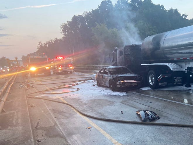 A car and a tanker collided and set on fire on I-20 eastbound in Augusta, Ga., close to the Augusta Canal on September 9, 2021.